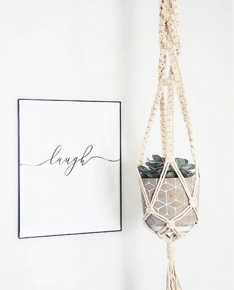 Macrame Plant Hanger with gold accents