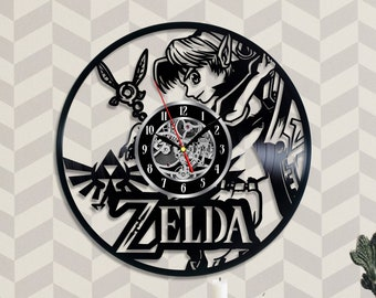 Zelda Wall Clock Large Wall Decore Zelda Vinyl Clock Birthday Gift For  Gamer The Legend Of Zelda Game Vinyl Record Clock Children Wall Art f6a1113a621