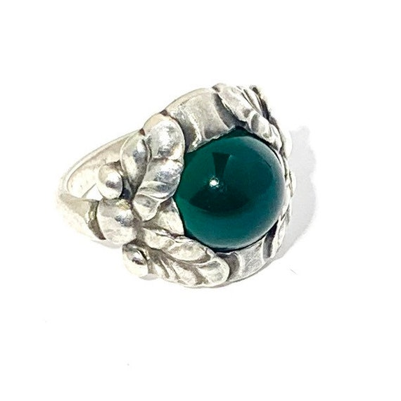 Georg Jensen Sterling Ring 11B Green Onyx Denmark