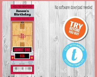 f7ff7c561 Houston Rockets Basketball Invitation