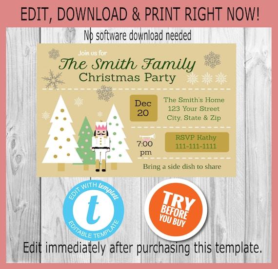 Christmas Invitation Christmas Party Invitation Holiday Party Invitation Personalized Christmas Invitation