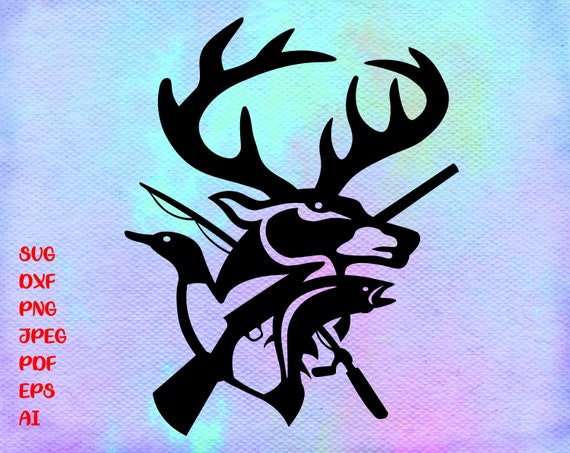 Download Hunting Svg Fishing Svg Deer And Duck And Fish Svg Png Etsy