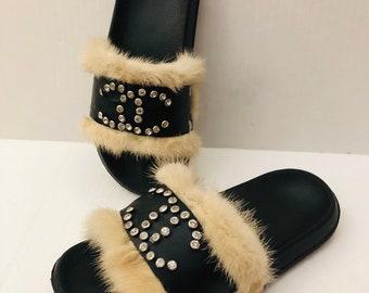 dcf67d3ca672 Chanel Crystals on Black Leather Strap Blonde Mink slides Sandals sz 6 7 8  9 10