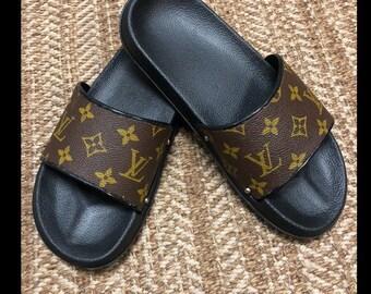 a7df646814927b Custom Louis Vuitton Slides MEN WOMEN