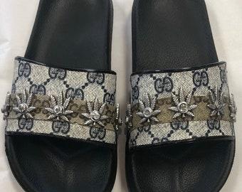 0cbb046d1d8 Gucci Custom Slip On Slides with Cannabis leaf crystal detail sz 7   8  sandals mules