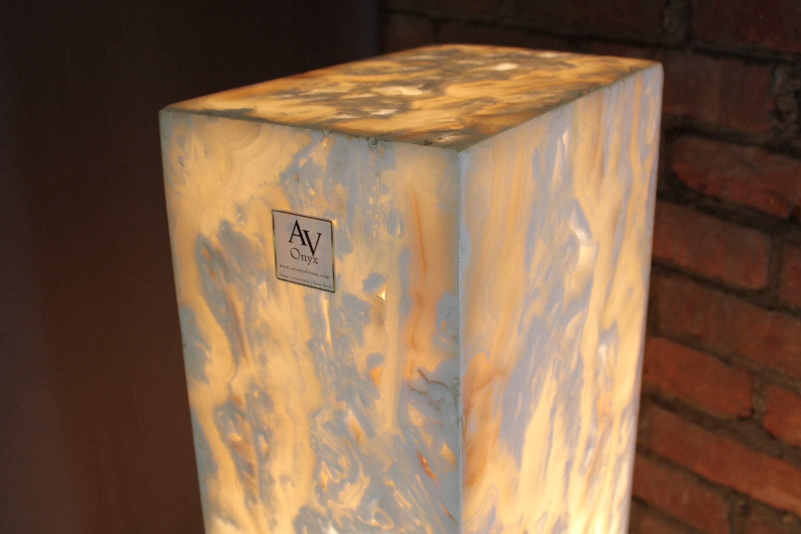 Rustic White Onyx Floor Lamp 40 Inch Stone Pedestal Etsy