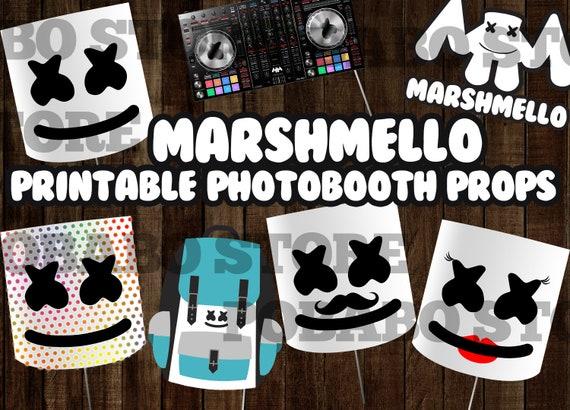 Marshmello Dj Inspired Printable Photo Booth Props Instant Download Mello Party Mashmallow Dj Marshmello Theme Party Marshmello Helmet