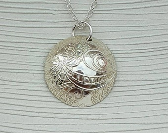 Sterling silver etched patterned domed pendant