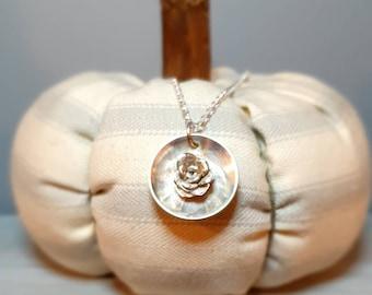 Silver succulant rosette shadow box pendant