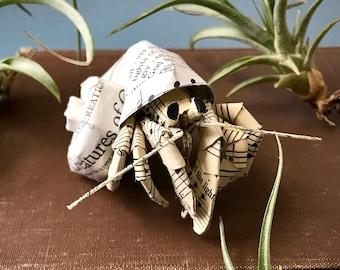 Sheet Music Hermit Crab Book Page Sculpture, Hymns