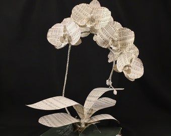 Book Page Orchid flower sculpture, Hymn Sheet Music