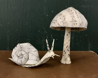 Book Page Snail and Mushroom Paper Sculpture Set, Hymn Sheet Music
