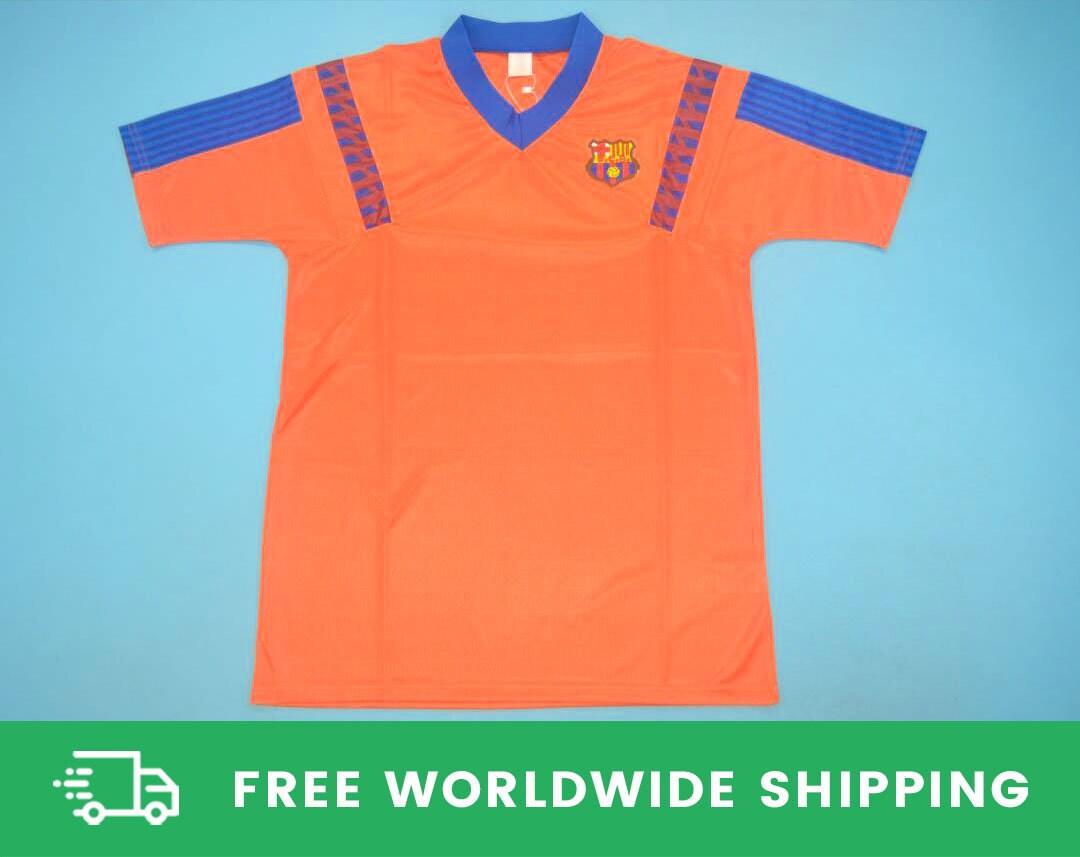FC Barcelona 1991-1992 Away Short-Sleeve Shirt Kit Camisa Jersey Stoichkov Koeman Guardiola Sizes S-XXL [Fully-Customizable Name & Number]
