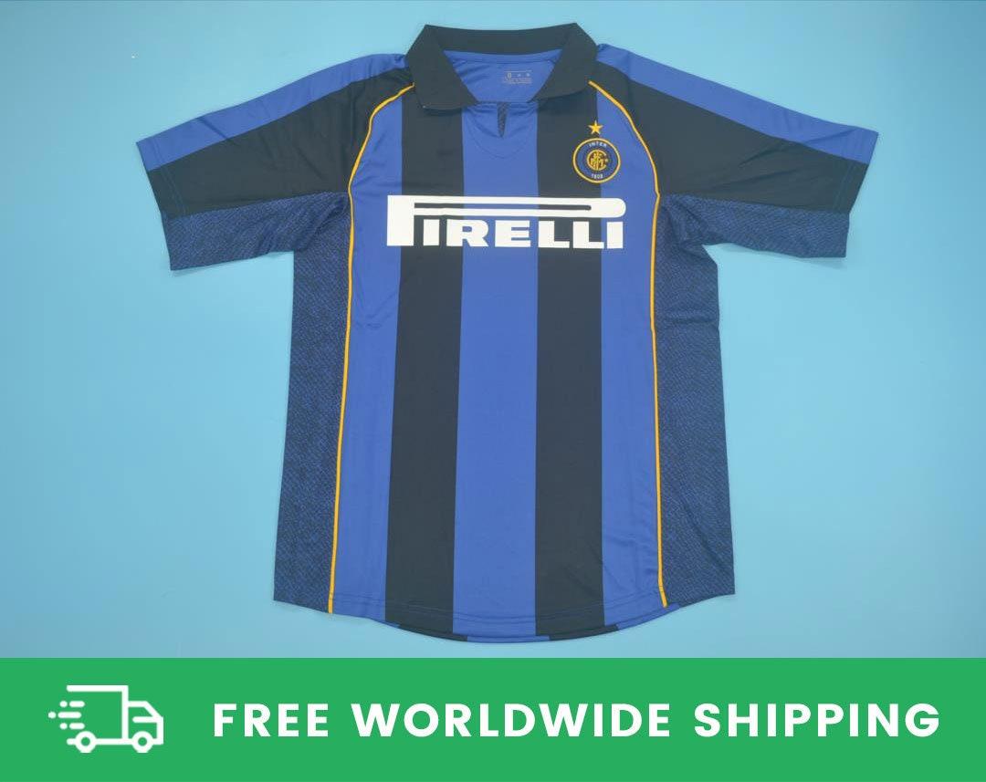 Inter Milan 2001-2002 Home Short-Sleeve Shirt Kit Maglia Jersey Romário Popescu Valckx Sizes S-XXL [Fully-Customizable Name & Number]