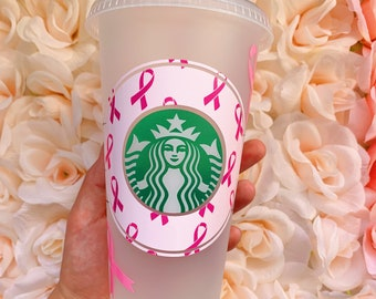 Breast Cancer Awareness, Survivor, Breast Cancer, Starbucks Cups, Pink Starbucks Cups, Mugs, Cups, Tumblers, Personalized Gift