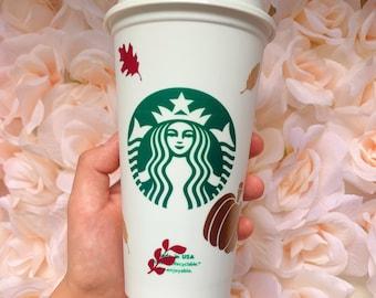 Fall hot cup, Hot mug, Fall Cup, Fall Decor, PSL, Leaves, Pumpkin Cup, Starbucks Hot cups, Starbucks, Custom Mug, Custom cup