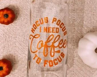 Halloween Glass Cup | Glass Coffee Cup | Glass Can | Beer Can Glass | Iced Coffee Glass | Glass Can | Spooky Coffee Cup