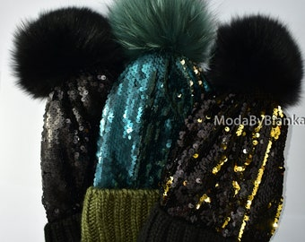 a0741aa91ce Women s Real Fur Knit Pom Pom Hat With Sequins