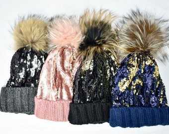 03be92e5f53 Women s Real Fur Knit Pom Pom Hat With Sequins