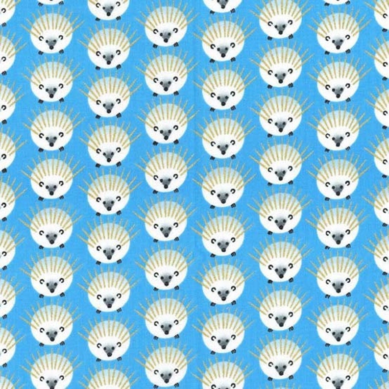 Cadet Navy OR Blue -Hedgehog fabric by Michael Miller 3 colors -Quills with metallic gold-  Bubblegum pink