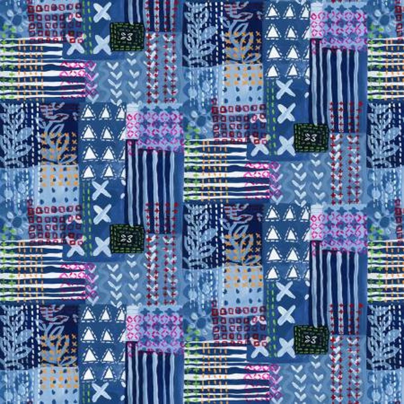 by Dear Stella looks like Kantha Patchwork Multi Fabric Modern Fabric on Navy