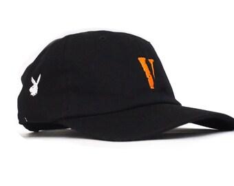 e87c44d58f121 Vlone playboi Embroidered Dad Hat - Unstructured strapback carti hip hop  merch