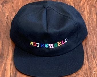 ba62db0f32dde Astroworld Embroidered vintage washed unstructured dad hat travis scott  days before cactus jack la flames kanye west kylie jenner hip hop