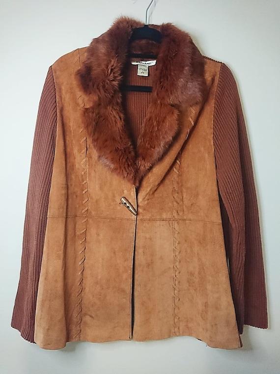 Vintage Nygard Leather & Rabbit Fur Cardigan