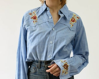 6c3da3196 Vintage 70s Western Embroidered Chambray Button Up