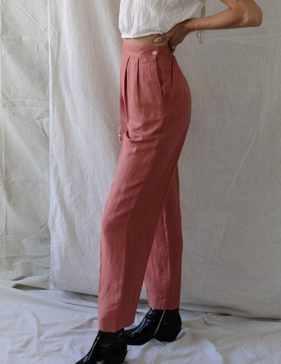 1980s Linen Pink Pants - image 4