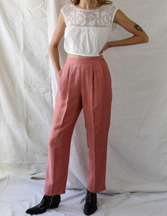 1980s Linen Pink Pants - image 1