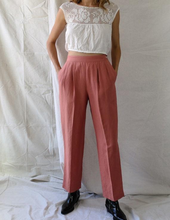 1980s Linen Pink Pants - image 2