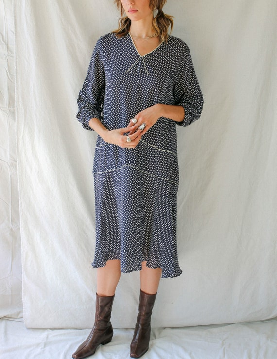 1920s Polka Dot Drop Waist Dress