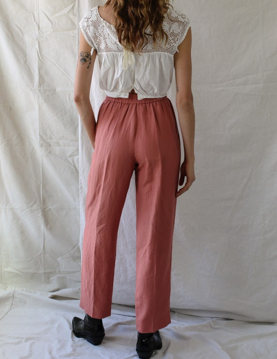 1980s Linen Pink Pants - image 3