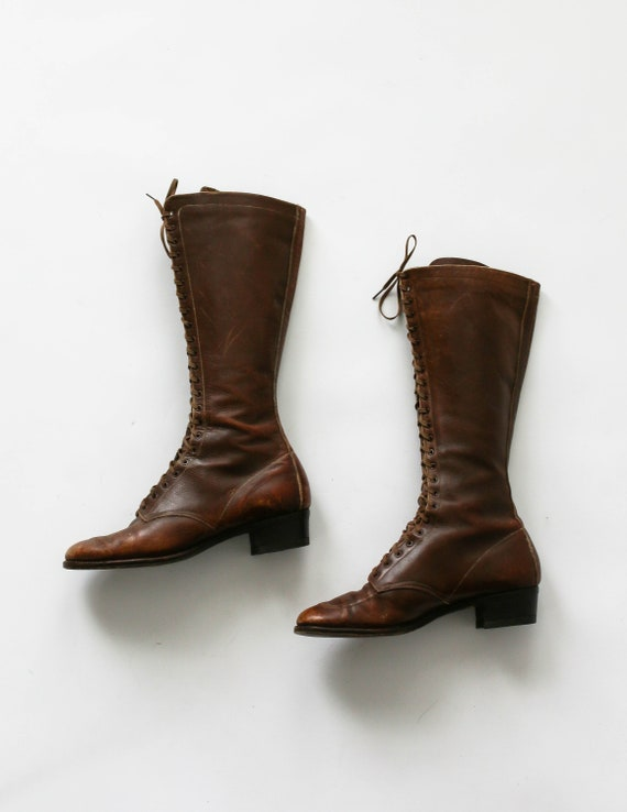 Size 7 7.5 Antique 1920s Leather Lace Up Boots