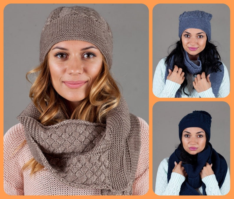 a741d4e1c Warm knit women slouchy beanie & winter scarf Knit winter hats for women  nit hat Scarf Chunky Knit scarves Warm beanie Wooly beanie