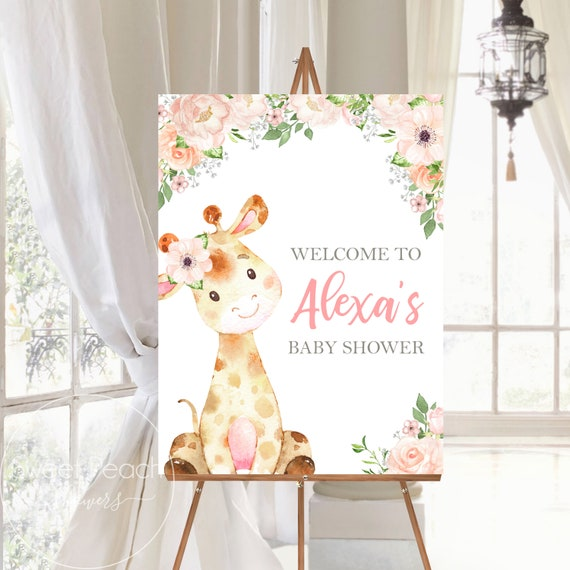 LARGE Giraffe Baby Shower Welcome Sign Girl Decor Decoration