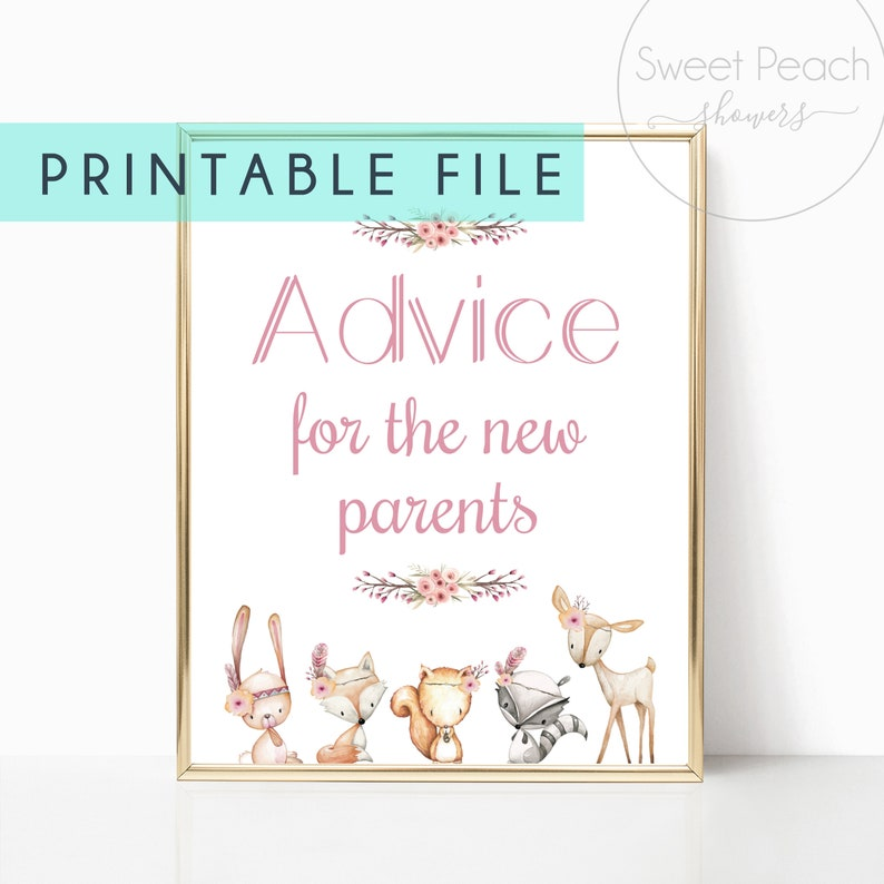 Advice for the New Parents Sign Display Game Cards Baby Shower image 0