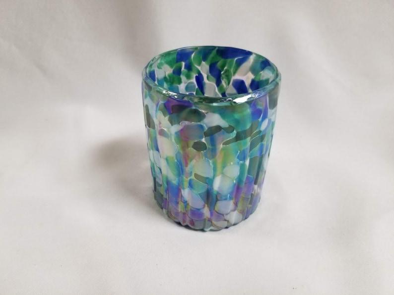 Hand Blown Low Ball Tumbler Glass Aegean Blue