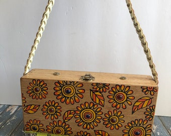 f6da19846f Vintage Gary Gails Dallas Wooden Box Purse Vintage