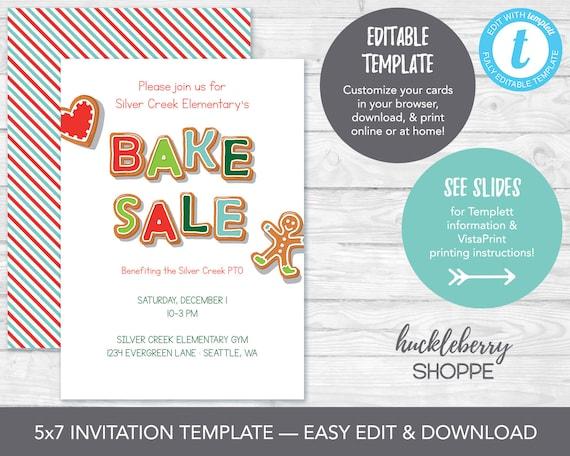 Holiday Bake Sale Invitation Template Christmas Cookie Sale Template