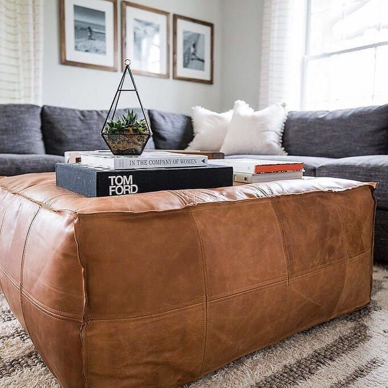 quality design 8ef77 f5621 Square Poufs Moroccan square Ottoman Pouffe Moroccan leather, ottoman  square pouf, light tan handmade footstool, Poufs leather natural
