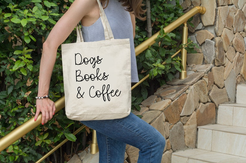 Dogs Books and Coffee Tote Bag