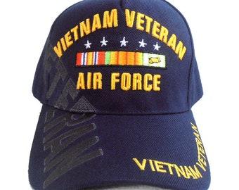 763c48f126a US Air Force Vietnam Veteran Hat Blue Adjustable Cap