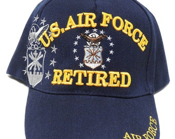 a87bd81bfc6 US Air Force Hat Retired w  Insignia Shadow Blue Adjustable Cap