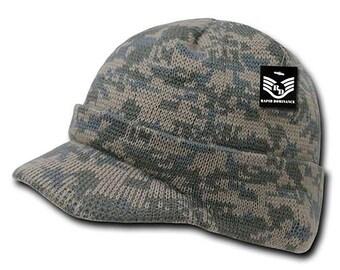 a6fcf766e60 RapDom Jeep Cap Watch Hat Beanie w/ Visor Military Camouflage Camo GI Knit