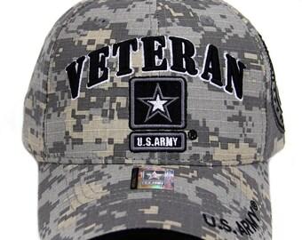 12ead70503d US Army Veteran Hat ACU Digital Camo Gray Border w  Black Army Star Logo  Seal Side