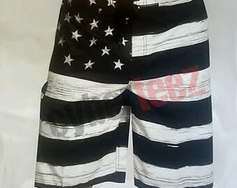 394d04a278efd USA American Flag Old Glory BLACK Mens Board Shorts Swim Trunks Patriotic  S-XXL. Cyberteez