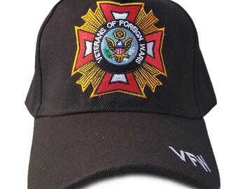 4c0101f93b9a0 Veterans Of Foreign Wars Hat VFW Black Adjustable Cap