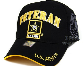 d582d7e21c4759 US Army Veteran Hat Black w/ Yellow Border And Gray Army Star Logo Seal Side